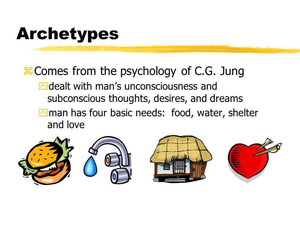 Archetypes zComes from the psychology of C.G. Jung ydealt with man's unconsciousness and subconscious thoughts, desires, and dreams yman has four basi