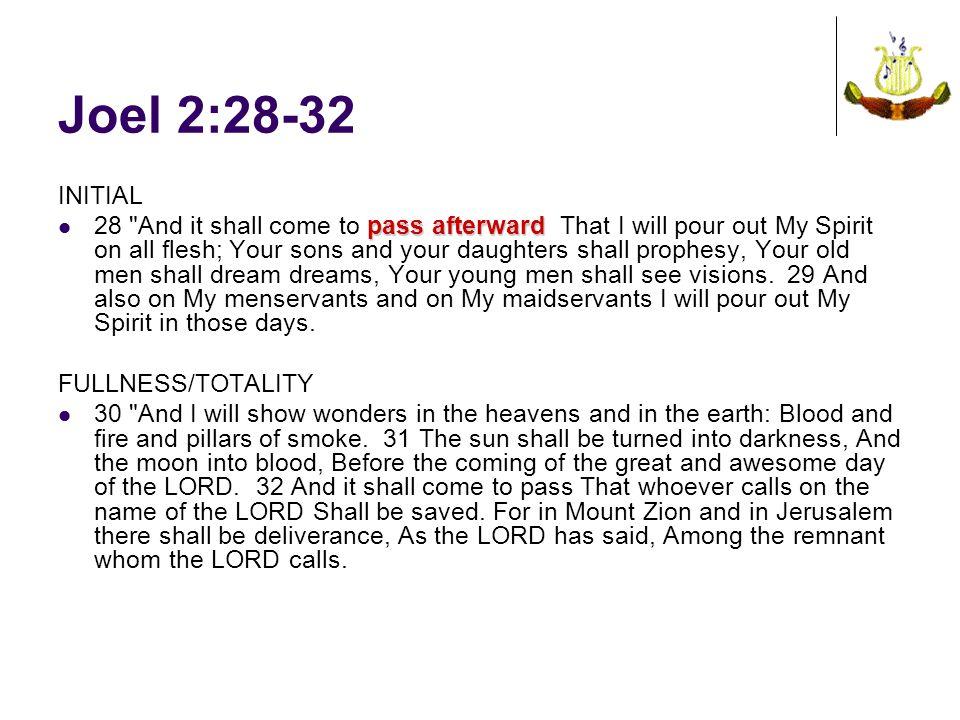 Joel 2:28-32 INITIAL pass afterward 28