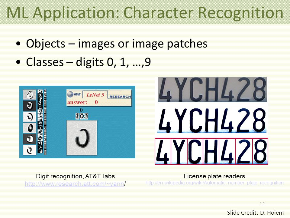 11 ML Application: Character Recognition Digit recognition, AT&T labs http://www.research.att.com/~yannhttp://www.research.att.com/~yann/ License plate readers http://en.wikipedia.org/wiki/Automatic_number_plate_recognition Objects – images or image patches Classes – digits 0, 1, …,9 Slide Credit: D.