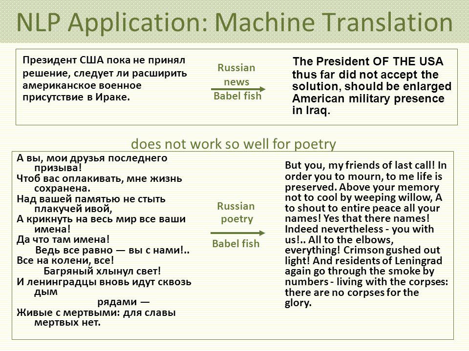 NLP Application: Machine Translation Президент США пока не принял решение, следует ли расширить американское военное присутствие в Ираке.