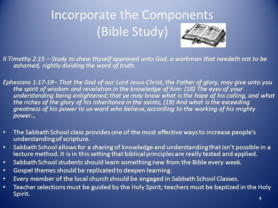 Make Sabbath School Interesting Bring Life to Sabbath School Programs Know your Sabbath School base You can't manage what you don' t measure. Eliminate the Routine Employ continuous training and development for Sabbath School teachers and leaders.
