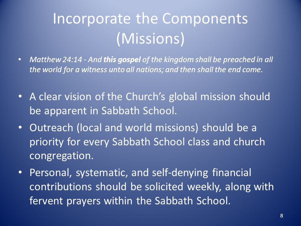 Spirit of Prophecy Sabbath School: A Marvelous Power for Good Our Sabbath schools are nothing less than Bible societies, and in the sacred work of teaching the truths of God s word, they can accomplish far more than they have hitherto accomplished.