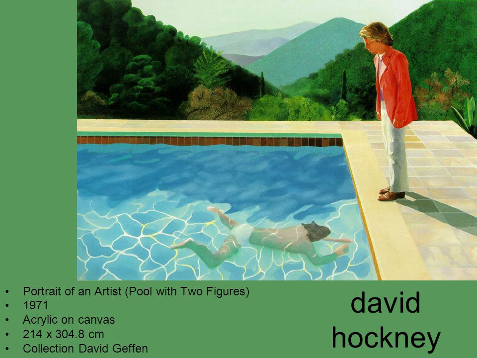david hockney Portrait of an Artist (Pool with Two Figures) 1971 Acrylic on canvas 214 x 304.8 cm Collection David Geffen