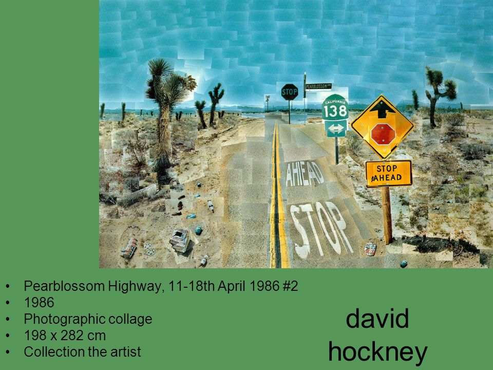 david hockney Pearblossom Highway, 11-18th April 1986 #2 1986 Photographic collage 198 x 282 cm Collection the artist