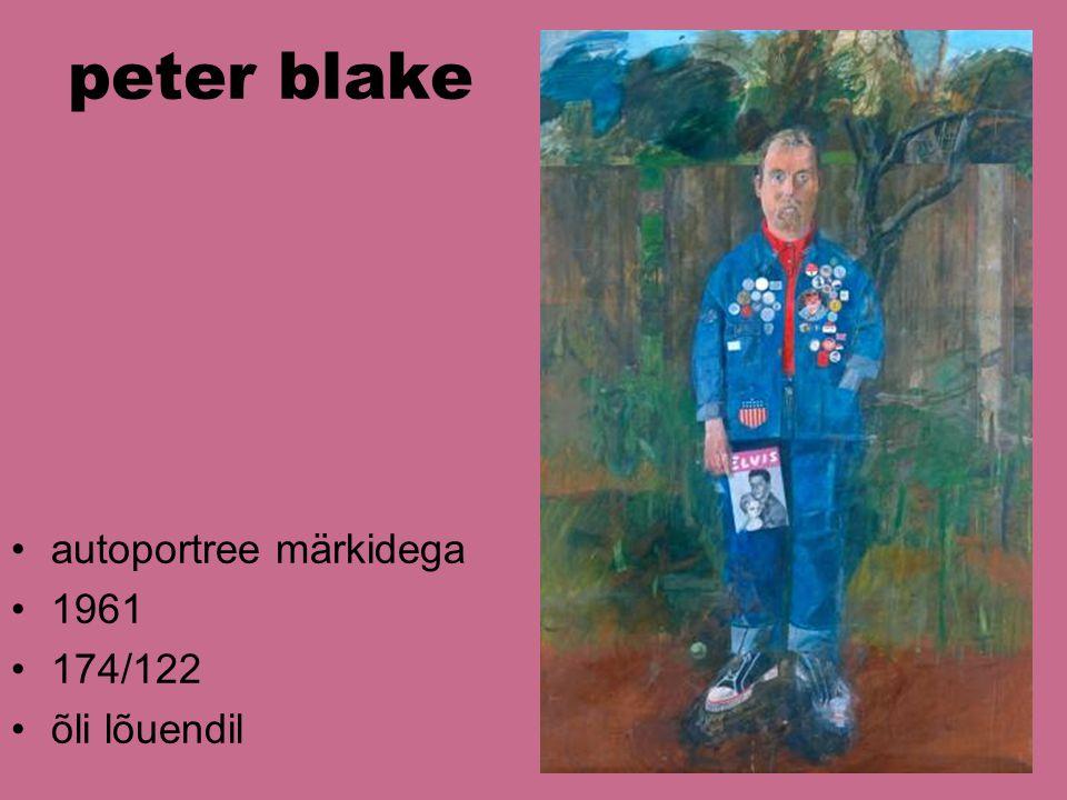 peter blake autoportree märkidega 1961 174/122 õli lõuendil