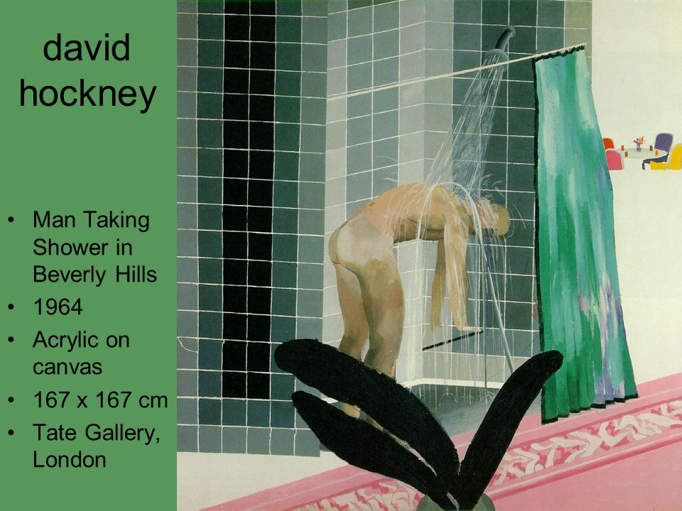 david hockney Man Taking Shower in Beverly Hills 1964 Acrylic on canvas 167 x 167 cm Tate Gallery, London