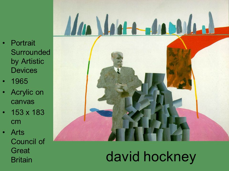 david hockney Portrait Surrounded by Artistic Devices 1965 Acrylic on canvas 153 x 183 cm Arts Council of Great Britain