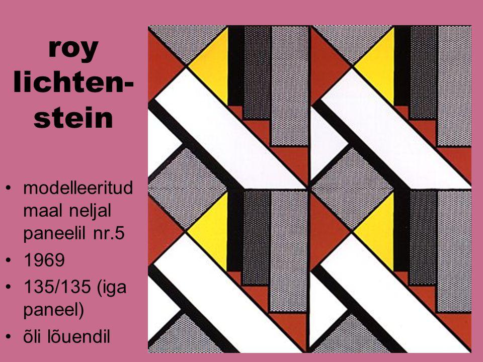 roy lichten- stein modelleeritud maal neljal paneelil nr.5 1969 135/135 (iga paneel) õli lõuendil