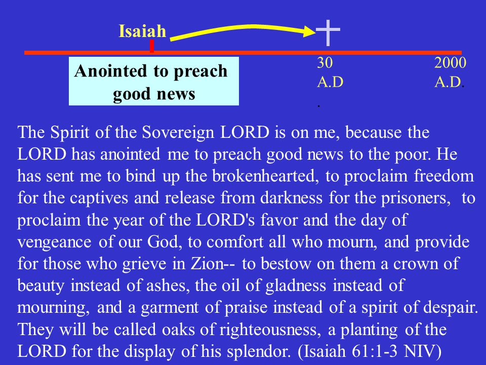 30 A.D. 2000 A.D. 700 B.C.. Isaiah Anointed to preach good news The Spirit of the Sovereign LORD is on me, because the LORD has anointed me to preach