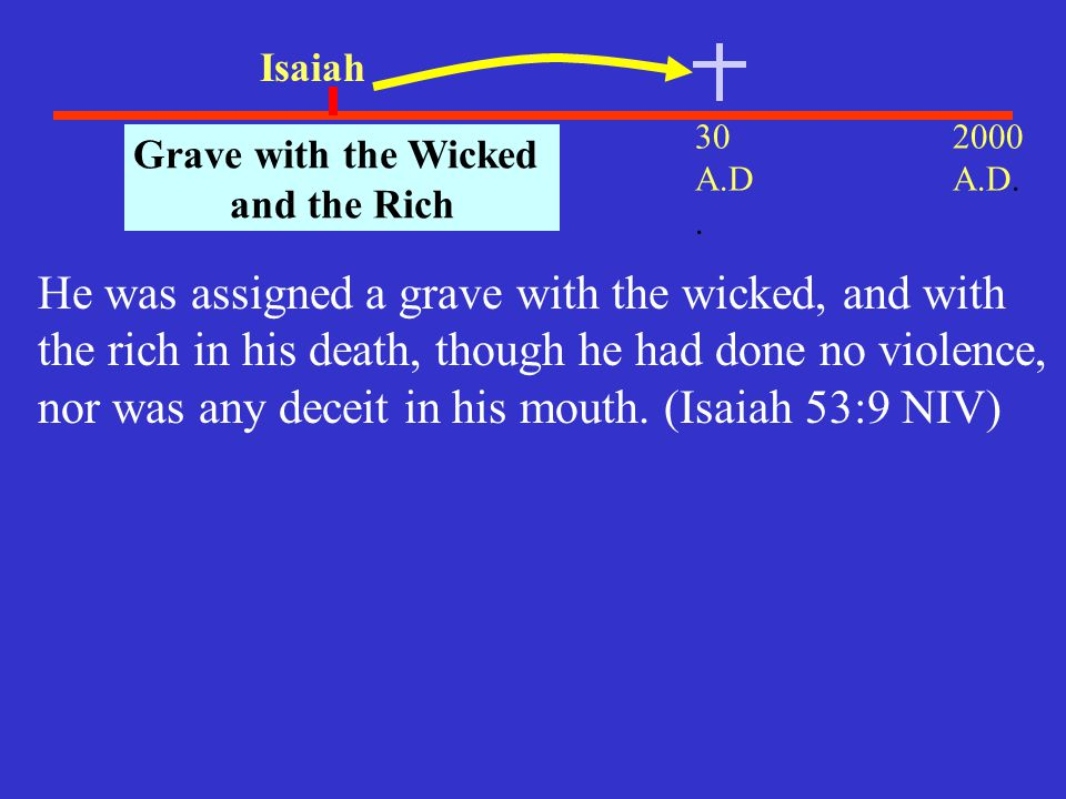 30 A.D. 2000 A.D. 700 B.C.. Isaiah Grave with the Wicked and the Rich He was assigned a grave with the wicked, and with the rich in his death, though