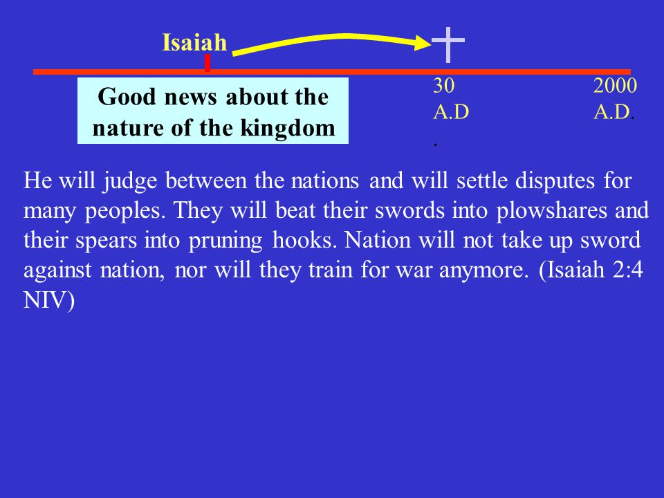 30 A.D. 2000 A.D. 700 B.C.. Isaiah Good news about the nature of the kingdom He will judge between the nations and will settle disputes for many peopl