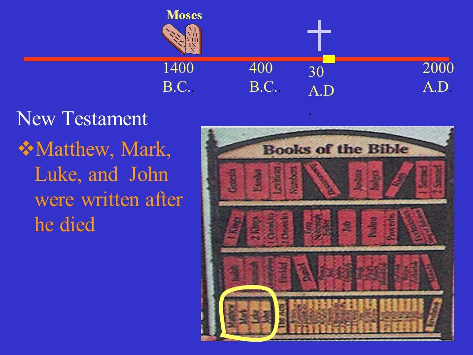 30 A.D. 2000 A.D. 1400 B.C.. Moses 400 B.C.. New Testament  Matthew, Mark, Luke, and John were written after he died
