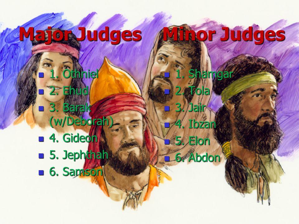 Major Judges Minor Judges Major Judges Minor Judges 1. Othniel 1. Othniel 2. Ehud 2. Ehud 3. Barak (w/Deborah) 3. Barak (w/Deborah) 4. Gideon 4. Gideo