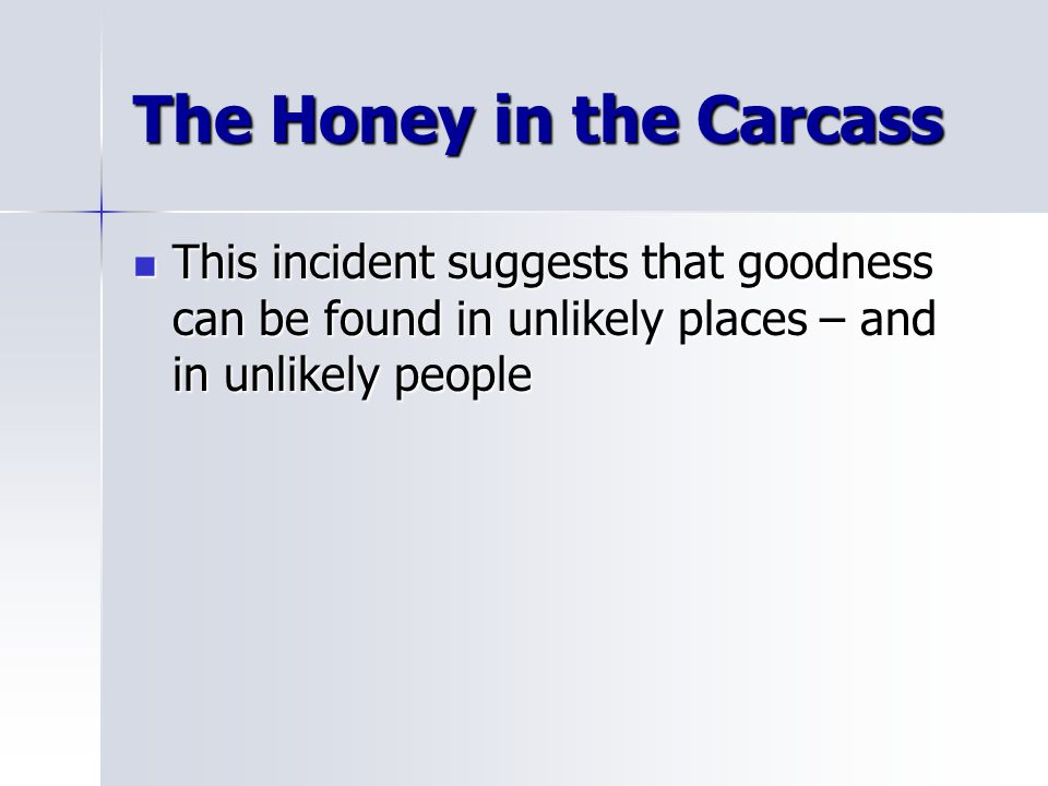 The Honey in the Carcass This incident suggests that goodness can be found in unlikely places – and in unlikely people This incident suggests that goo