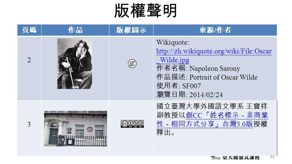 版權聲明 頁碼作品版權圖示來源 / 作者 2 Wikiquote: http://zh.wikiquote.org/wiki/File:Oscar _Wilde.jpg 作者名稱 : Napoleon Sarony 作品描述 : Portrait of Oscar Wilde 使用者 : SF007