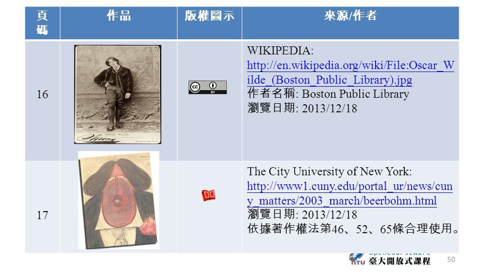 頁碼頁碼 作品版權圖示來源 / 作者 16 WIKIPEDIA: http://en.wikipedia.org/wiki/File:Oscar_W ilde_(Boston_Public_Library).jpg 作者名稱 : Boston Public Library 瀏覽日期 : 2013/1