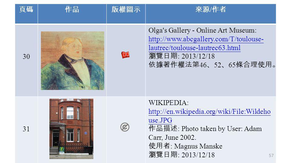 頁碼作品版權圖示來源 / 作者 30 Olga's Gallery - Online Art Museum: http://www.abcgallery.com/T/toulouse- lautrec/toulouse-lautrec63.html 瀏覽日期 : 2013/12/18 依據著作權法第