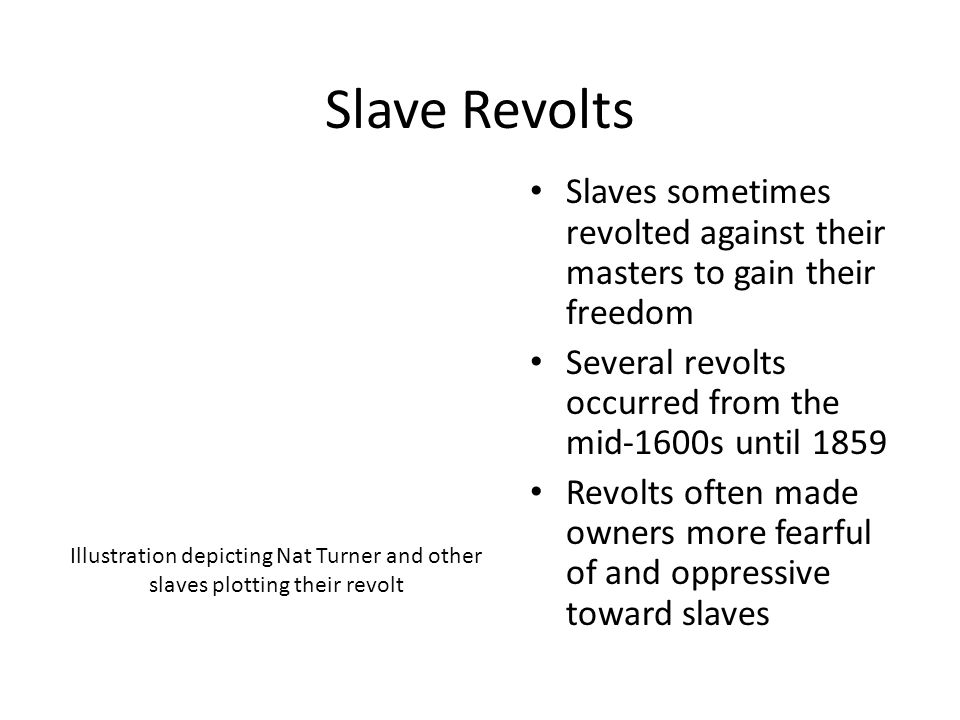 Slave Revolts Slaves sometimes revolted against their masters to gain their freedom Several revolts occurred from the mid-1600s until 1859 Revolts oft