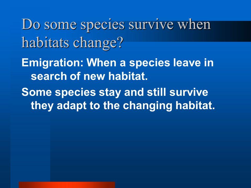 Do some species survive when habitats change.