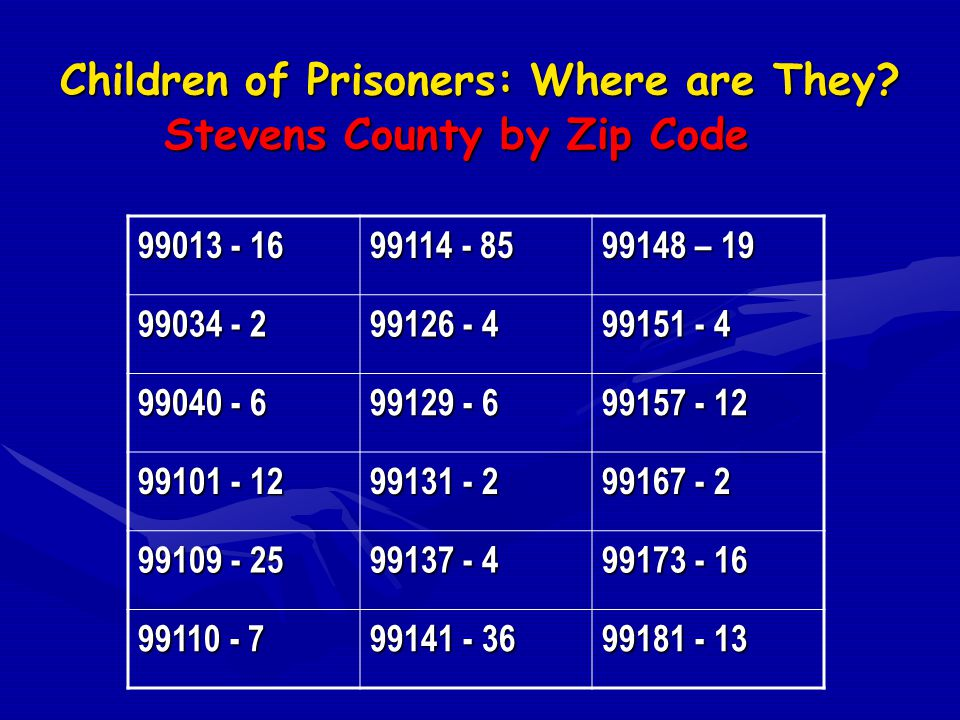 Children of Prisoners: Where are They? Stevens County by Zip Code 99013 - 16 99114 - 85 99148 – 19 99034 - 2 99126 - 4 99151 - 4 99040 - 6 99129 - 6 9