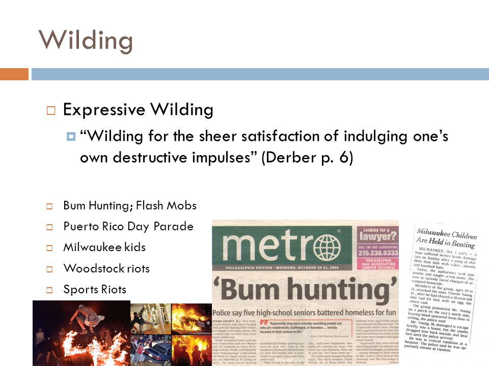 "Wilding  Expressive Wilding  ""Wilding for the sheer satisfaction of indulging one's own destructive impulses"" (Derber p. 6)  Bum Hunting; Flash Mob"