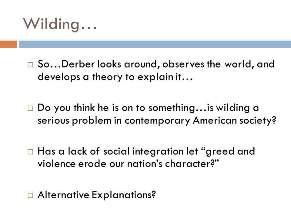 Wilding…  So…Derber looks around, observes the world, and develops a theory to explain it…  Do you think he is on to something…is wilding a serious