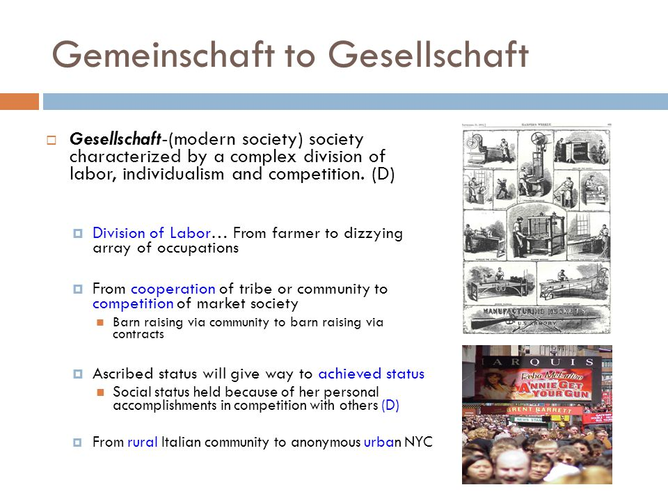 Gemeinschaft to Gesellschaft  Gesellschaft-(modern society) society characterized by a complex division of labor, individualism and competition. (D)