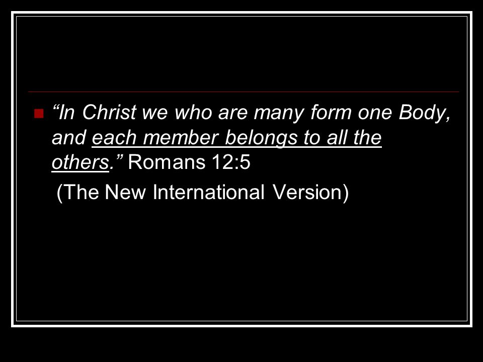 In Christ we who are many form one Body, and each member belongs to all the others. Romans 12:5 (The New International Version)