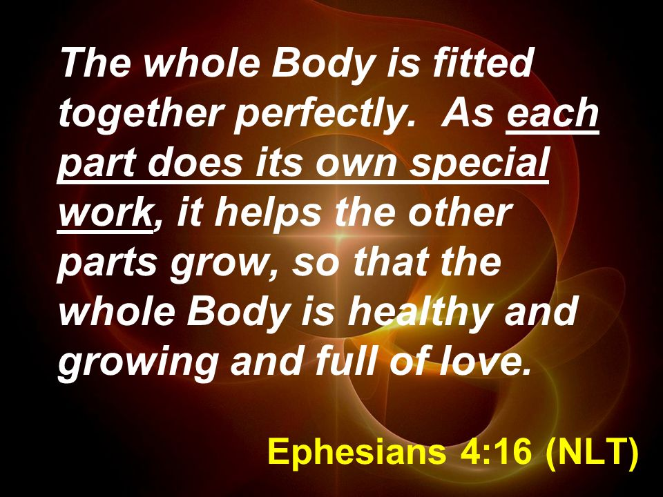 Ephesians 4:16 (NLT) The whole Body is fitted together perfectly.