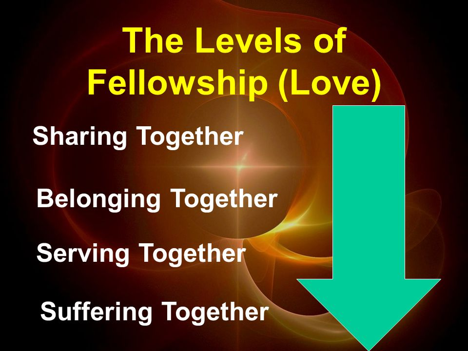 The Levels of Fellowship (Love) Sharing Together Belonging Together Serving Together Suffering Together