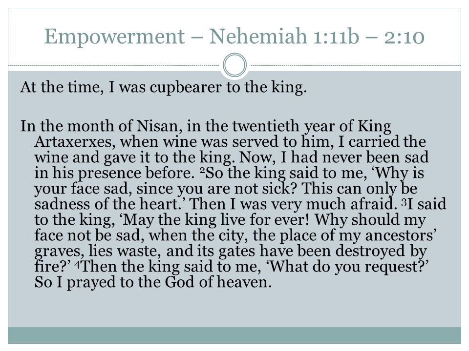 Empowerment – Nehemiah 1:11b – 2:10 At the time, I was cupbearer to the king.