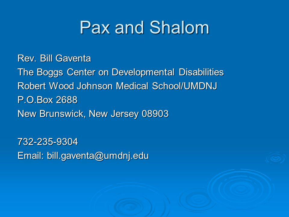 Pax and Shalom Rev.