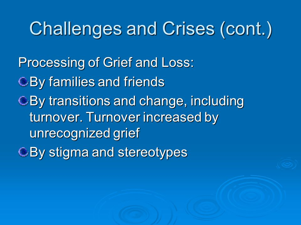 Challenges and Crises (cont.) Processing of Grief and Loss: By families and friends By transitions and change, including turnover.