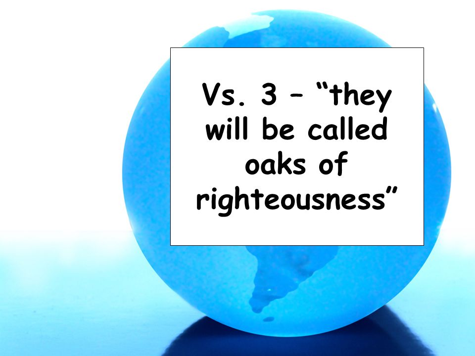 "Vs. 3 – ""they will be called oaks of righteousness"""