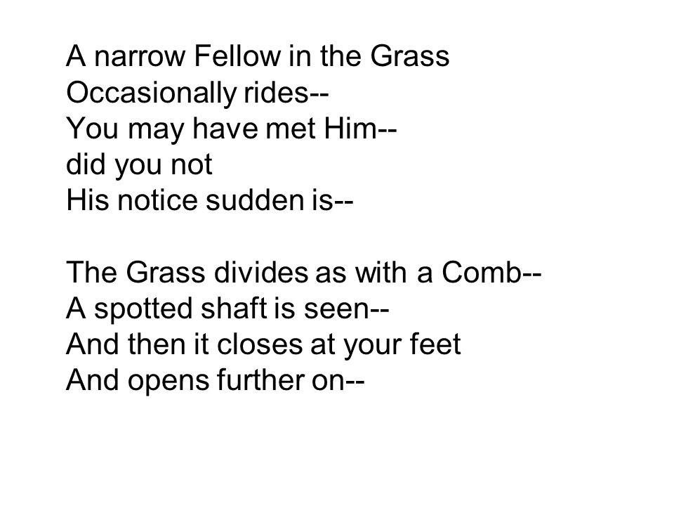 A narrow Fellow in the Grass Occasionally rides-- You may have met Him-- did you not His notice sudden is-- The Grass divides as with a Comb-- A spotted shaft is seen-- And then it closes at your feet And opens further on--