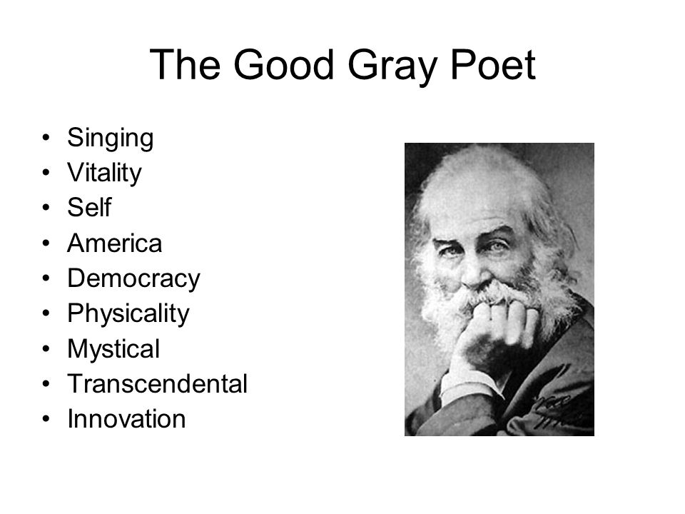 The Good Gray Poet Singing Vitality Self America Democracy Physicality Mystical Transcendental Innovation
