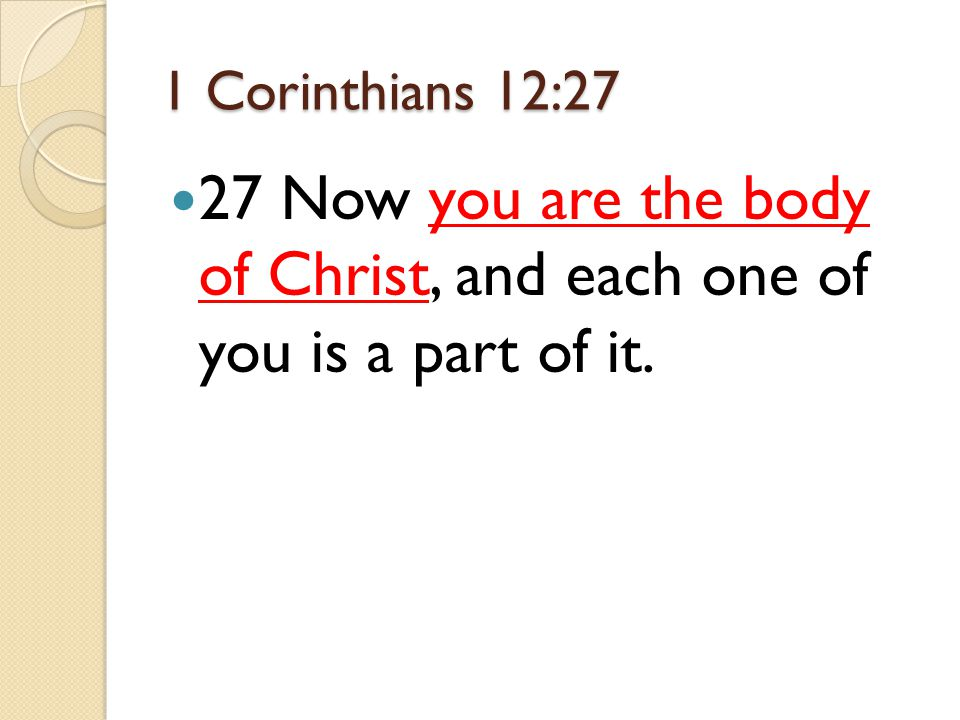 1 Corinthians 12:27 27 Now you are the body of Christ, and each one of you is a part of it.