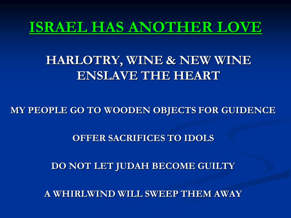 ISRAEL HAS ANOTHER LOVE HARLOTRY, WINE & NEW WINE ENSLAVE THE HEART MY PEOPLE GO TO WOODEN OBJECTS FOR GUIDENCE OFFER SACRIFICES TO IDOLS DO NOT LET J