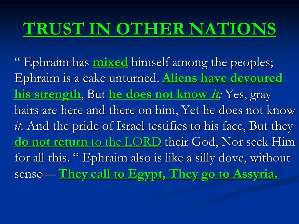 TRUST IN OTHER NATIONS Ephraim has mixed himself among the peoples; Ephraim is a cake unturned.