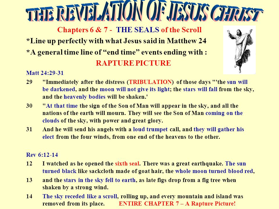 "Chapters 6 & 7 - THE SEALS of the Scroll *Line up perfectly with what Jesus said in Matthew 24 *A general time line of ""end time"" events ending with :"