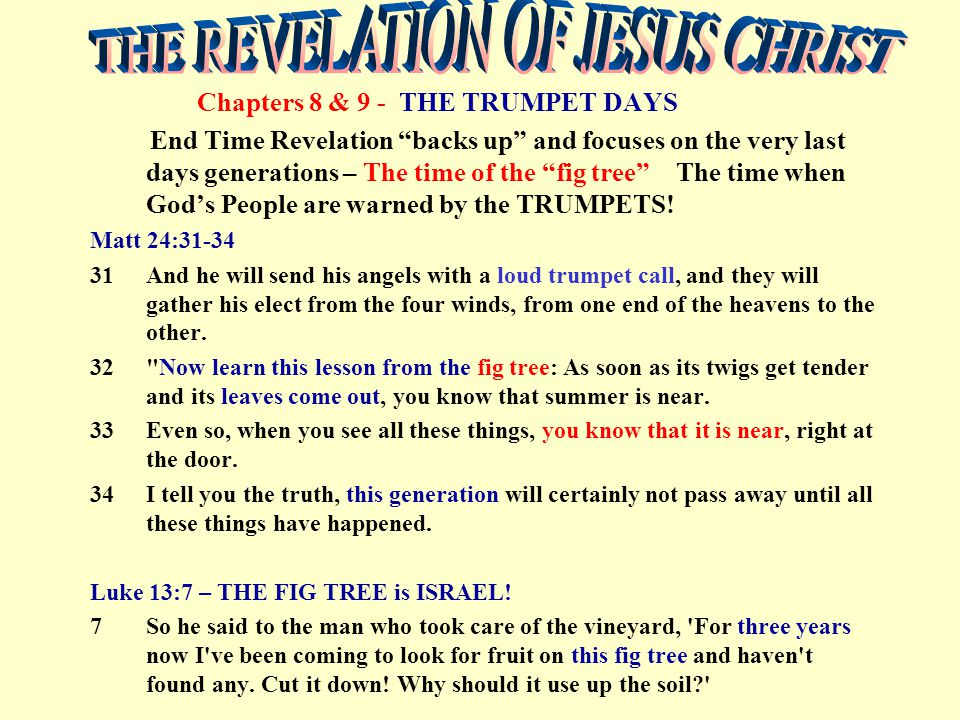 Chapters 8 & 9 - THE TRUMPET DAYS End Time Revelation backs up and focuses on the very last days generations – The time of the fig tree The time when God's People are warned by the TRUMPETS.