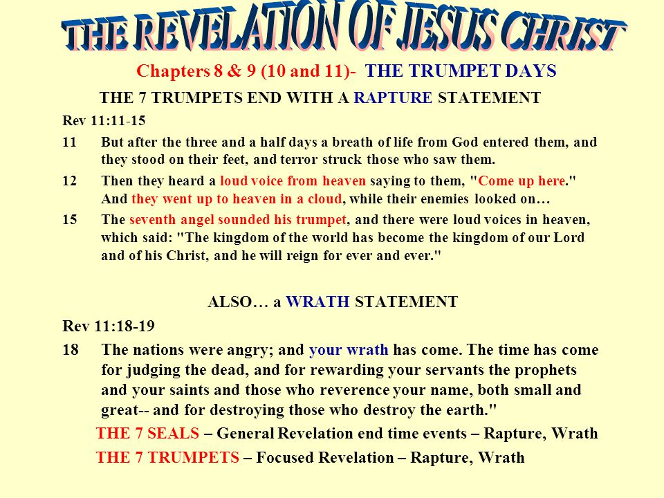 Chapters 8 & 9 (10 and 11)- THE TRUMPET DAYS THE 7 TRUMPETS END WITH A RAPTURE STATEMENT Rev 11:11-15 11But after the three and a half days a breath of life from God entered them, and they stood on their feet, and terror struck those who saw them.