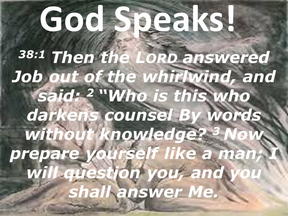 "God Speaks! 38:1 Then the L ORD answered Job out of the whirlwind, and said: 2 ""Who is this who darkens counsel By words without knowledge? 3 Now prep"
