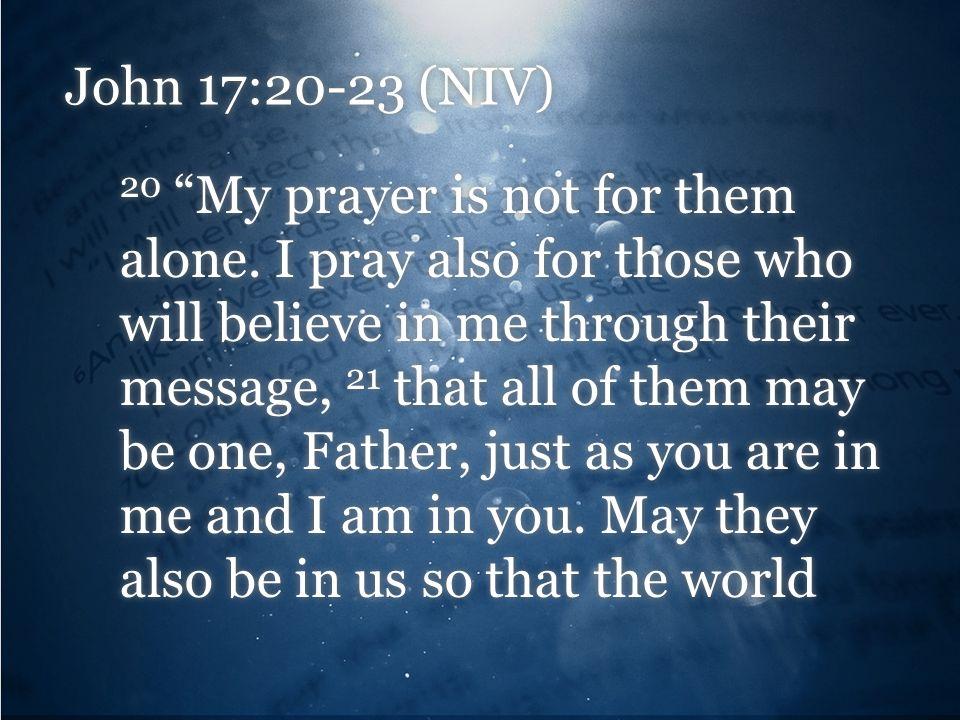 John 17:20-23 (NIV) 20 My prayer is not for them alone.