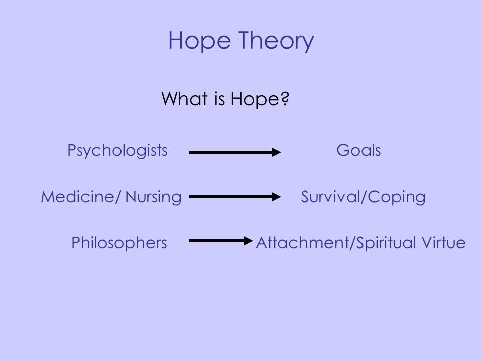 Hope Theory What is Hope? Psychologists Goals Medicine/ Nursing Survival/Coping Philosophers Attachment/Spiritual Virtue