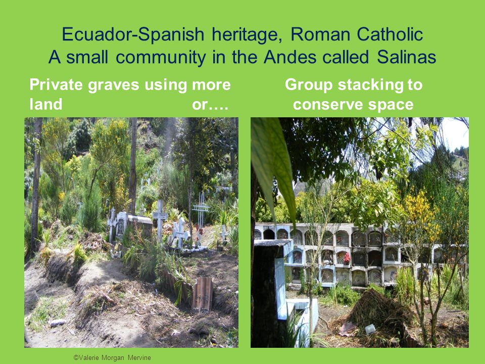 Ecuador-Spanish heritage, Roman Catholic A small community in the Andes called Salinas Private graves using more land or….