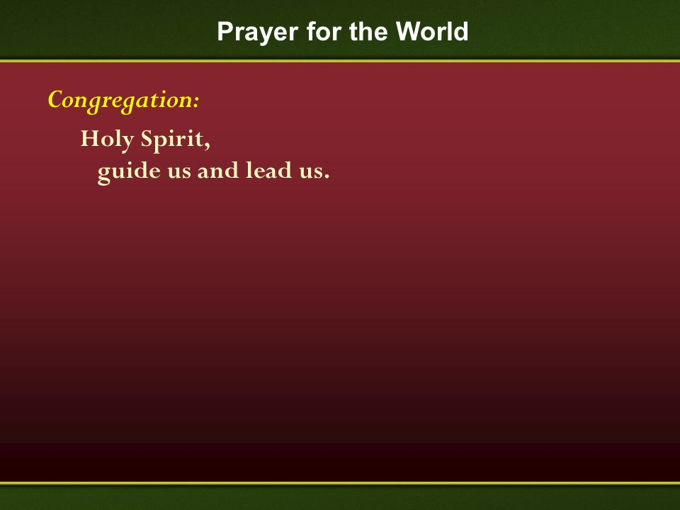 Prayer for the World Congregation: Holy Spirit, guide us and lead us.