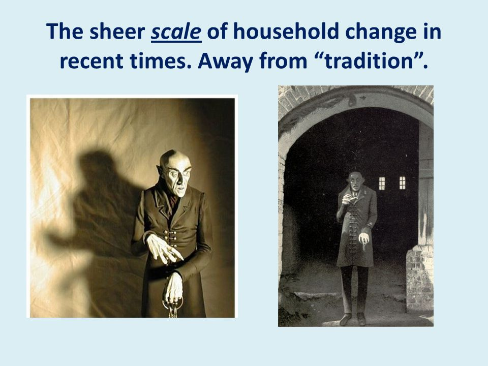 The sheer scale of household change in recent times. Away from tradition .