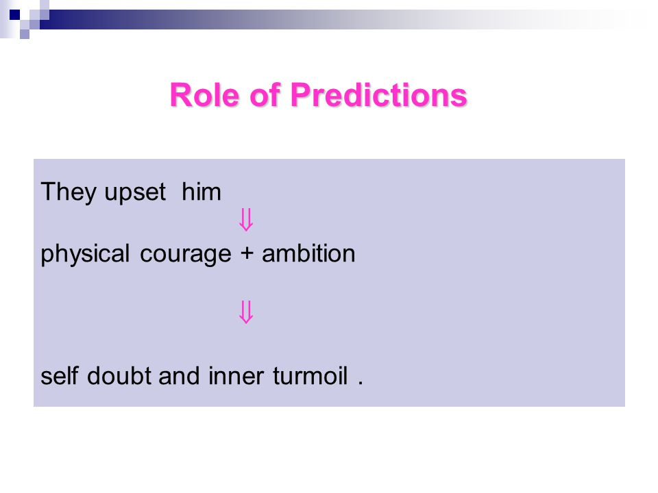 They upset him  physical courage + ambition  self doubt and inner turmoil. Role of Predictions
