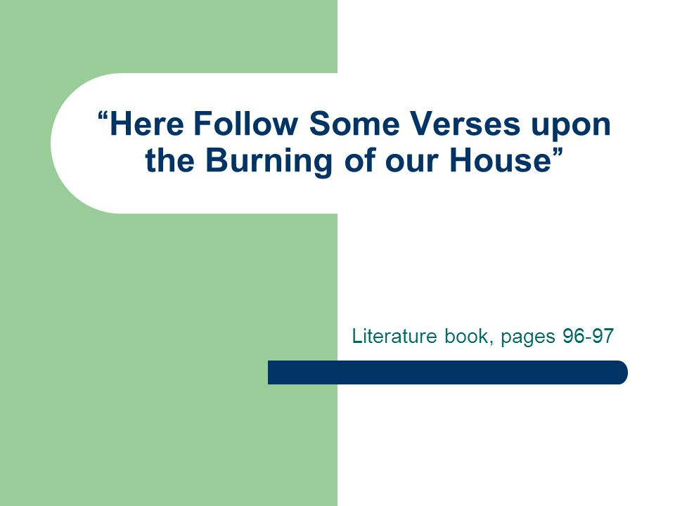 Here Follow Some Verses upon the Burning of our House Literature book, pages 96-97